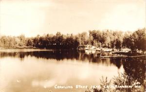 Lac du Flambeau Wisconsin~Crawling Stone Lake~Cabin Dock Boat~Shore~1920s RPPC