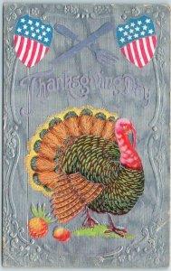 Vintage THANKSGIVING Postcard U.S. Stars & Stripes Shields / Turkey 1909 Cancel