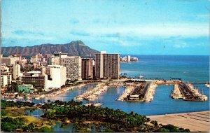 Honolulu, HI Hawaii, Waikiki Beach Diamond Head Postcard Posted 1976