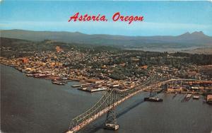 Astoria Oregon~Astoria Bridge over Columbia River & City Aerial View~1950s Pc