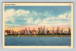 Chicago IL-Illinois, Skyline of City Front Yard Lake Michigan, Linen Postcard