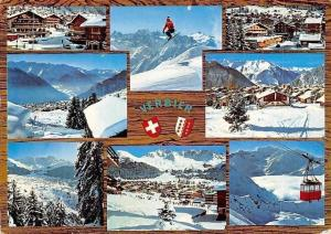 Switzerland Hiver a Verbier, Suisse Cable Car Ski Mountains Panorama