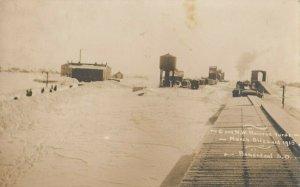 RP; BONESTEEL , South Dakota , 1915 ; Railroad Train Depot & Yards in Blizzard