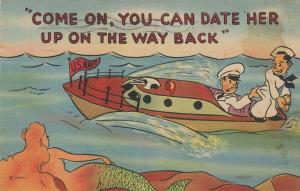 Comic: 1943 ; Sailors looking at Mermaid, You can date her up on the way back