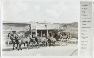 RPPC Stage Coach Ride and Opera House in Virginia City, Montana MT, Devolite Pee