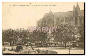 Old Postcard Metz Cathedral PRSE to Place de la Comedie