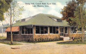 Lake Manawa Iowa~Council Bluffs Yacht Club Dining Hall~Note on Back~c1910 Pc