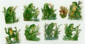 1870's-80's Lovely Anthropomorphic Frogs Lot Of 16 Victorian Die Cut X105