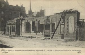 CPA Militaire - CREIL - Maisons bombardées par les Allemands (92038)