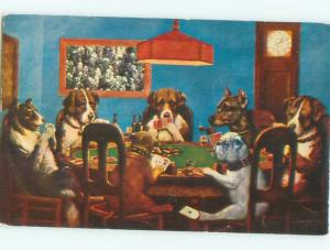 Pre-1980 Comic CLASSIC DOGS PLAYING POKER - SCENE ON A POSTCARD AC0210