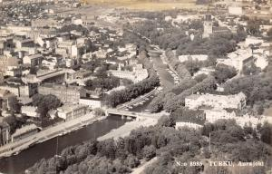 Turku Aurajoki Finland~Birdseye View City~River Bridge~1958 Real Photo~RPPC