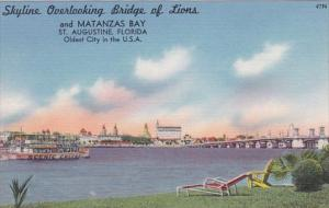Florida Saint Augustine Skyline Overlooking Bridge Of Lions