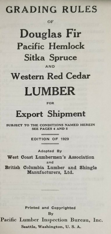 Export Grading Rules N for Lumber 1929 Edition Pacific Northwest