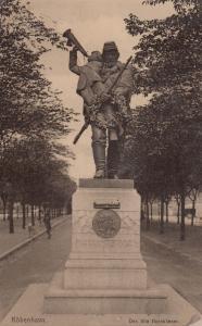 Denmark Copenhagen Hornblower Statue Boy Bugle Real Photo Old Postcard