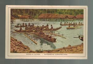Mint New Guinea Picture Postcard Papua Natives in Canoes