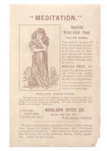 1894 Victorian Trade Card Lion Coffee Woolson Spice Co Premium Offer Children