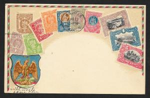 MEXICO Stamps on Postcard Embossed Shield Used c1910