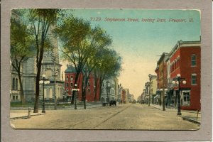 Postcard IL Freeport Stephenson Street Looking Ease St Scene Horse c1915 1237A