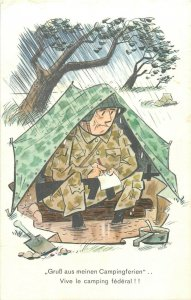 Military humour Vive le camping federal soldier rain tent caricature Switzerland