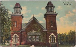 South Carolina SC Postcard 1914 CHESTER Baptist Church Building