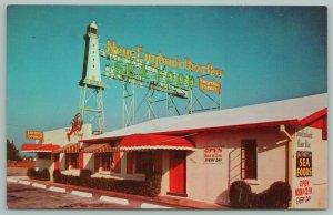 Miami Florida~New England Raw Bar-Sea Food House~Lobster on Wall~Light House~50s