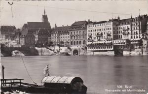 Switzerland Basel Rheinpartie mit Martinskirche 1928 Photo
