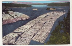 P301 JLs linen postcard huge log raft towboat deception pass