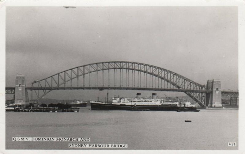 RP; Sydney , Australia , 30-50s ; Q.S.M.V. DOMINION MONARCH under bridge