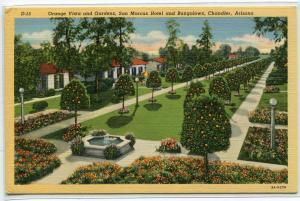 Orange Vista Gardens San Marcos Hotel Bungalows Chandler Arizona linen postcard