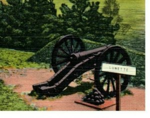 Fort Washington Valley Forge with Cannon Vintage Postcard from 1930-45 era