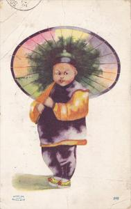 Asian Chubby Boy With A Colorful Umbrella, PU-1909