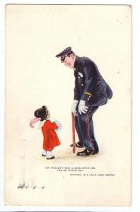 Policeman Little Girl Leslie-Judge Co. 1914 Postcard