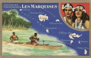 french polynesia, MARQUESAS Islands, Map Trade Card Lion Noir, Natives (1940s)