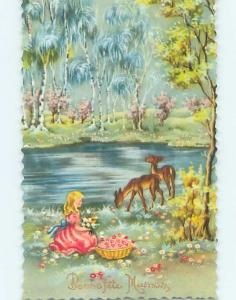 1958 foreign GIRL WATCHING DEER BY THE RIVER HL9551