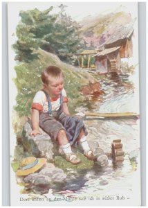 Boy Sitting by River Mill Color Vintage German Art Postcard with Caption