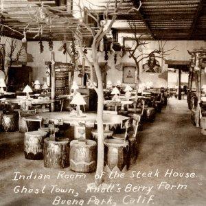 RPPC Indian Room Steak House Ghost Town Knott's Berry Farm Buena Park California