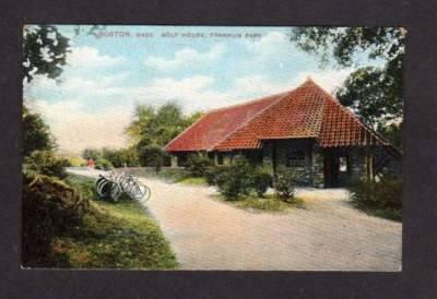 MA Golf House Golfing Bicycles BOSTON MASS Postcard Massachusetts