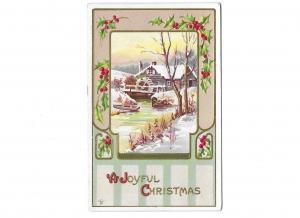 A Joyful Christmas Holly & Berries Embossed Old Mill Scene