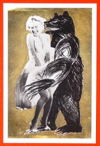 240054 American Actress MARILYN MONROE & RUSSIAN BEAR Comic Modern Art postcard