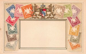 Bavaria Stamps on Early Embossed Postcard, Unused, Published by Ottmar Zieher