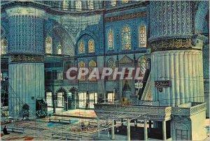 Postcard Modern Istanbul Turkey Inner blue mosque