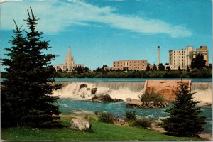 Idaho Falls ID LDS Temple and Square Snake River Postcard unused 1950s