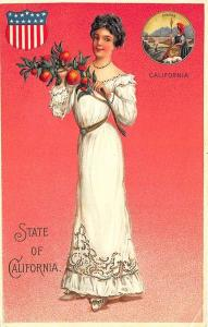 Langsdorf State of California Beautiful Multi Color Woman State Seal Postcard
