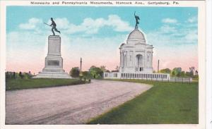 Pennsylvania Gettysburg Minnesota and Pennsylvania Monuments Hancock Avenue