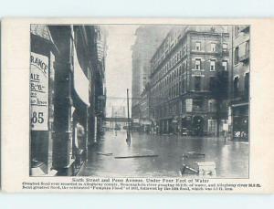 D-Back FLOODED STREETS CORNER OF SIXTH STREET & PENN AVENUE Pittsburgh PA ho3566