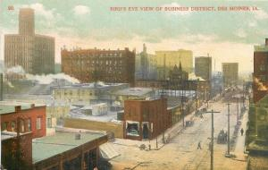 Des Moines Iowa~Business Dist~Corner Market~Nice Junk in Back of Buildings c1910