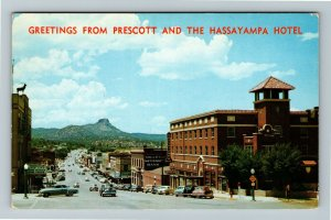 Prescott AZ- Arizona, Hassayampa Hotel, Advertising, Chrome c1961Postcard