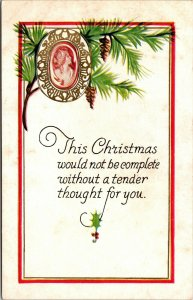 Vintage Christmas - Pinecone - POSTCARD PC POSTED