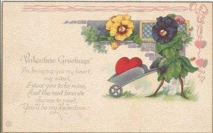 Flower People Pansy People Purple Pansy Girl Pushing Red Heart in Wheel Barrel