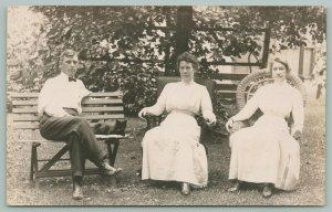 RPPC Bench & Wicker Chair~Carl Dettmer~Lillie & Amelia Eli (Dettmer) c1910